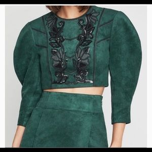 NWOT BCBGMAXAZRIA Sequin Green Embroidered Top